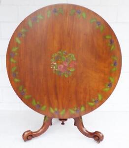 Victorian Satin Birch Hand Painted Circular Table
