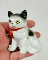 "Vintage Porcelain Grumpy Cat With Red Bow Stamped Japan 2 3/4""h"