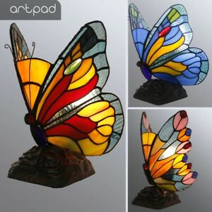 Stained Glass Tiffany Butterfly Lamp LED Butterfly Light for Table Night Fixture