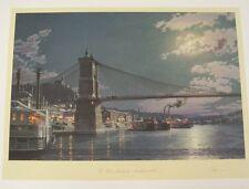 "John Stobart  New Mint Signed  Print ""Cincinnati Public Landing Moonlight 1884"""