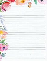 "Floral Edged Lined Stationery 8.5""X11"" 25 sheets & 10 color envelopes"