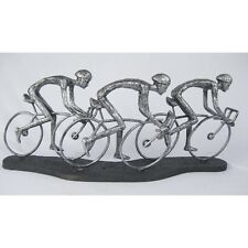 CYCLIST BIKE RIDING FIGURES 49.5CM OLYMPIC VELODROME SILVER ELECTROPLATED RESIN