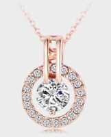 18K Rose GOLD Plated Austrian  Crystal Elements Round Pendant Necklace Gift