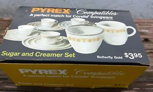 Pyrex Butterfly Gold Corning Creamer and Sugar with Lid NEW IN BOX NIB