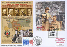 "Maxi FDC AUSTRIA-FRANCE ""Attack in Sarajevo, 100 years Great War 1914-18"" 2014"