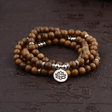 Wooden beads Mala Buddhist Buddha Lotus Meditation Reiki Bracelets Necklaces