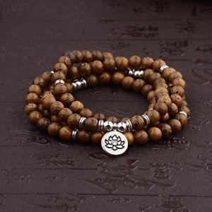 Wooden beads Mala Buddhist Buddha Lotus Meditation Reiki Bracelets Necklaces