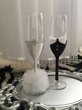 Art Deco Pom Pom Wedding Champagne Flutes Glasses