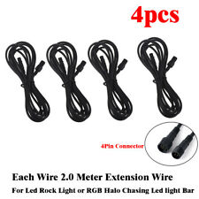 4pcs 2m 4Pin Waterproof Black Cable Wire Connectors For  RGB LED Rock Lights Pod