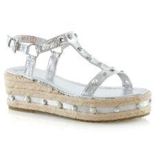 Womens Low Wedge Heel Sandals Ladies Espadrilles Summer Stud Platform Shoes Size