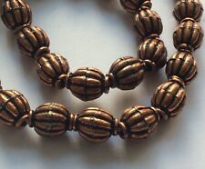 Antiqued Solid Copper Bali-Style Fluted Melon Oval Beads - 10x8 mm - 6 Pcs
