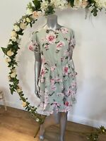 Influence Tea Dress Size 10 Chiffon Ruffle Floral Tie Back Green Tiered GH67 New