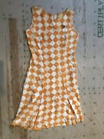 1930s 40s Vintage Rayon Checkerboard Orange Shift Dress 38 Abalone Kiwi Brooch