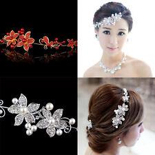 White Soft Chain Crystal Pearl Flower Headdress Wedding Headwear Hair Pins Clip