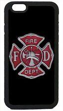 Case Cover for iPhone 4 4s 5 5s 5c 6 6 Plus Firefighter Fireman Black Logo
