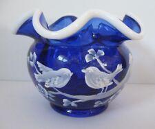 "FENTON ART GLASS COBALT BLUE ""LOVEBIRDS"" HP SNOW CREST ROSE BOWL NANCY FENTON"
