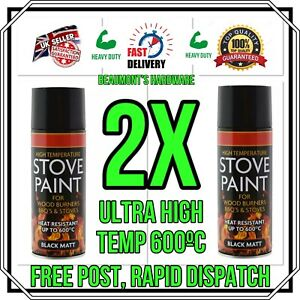 """2 X """"BIG CAN 400ml"""" High Temperature Spray Paint Stove Fire BBQ Exhausts *NEW*"""