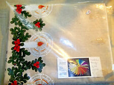 Vintage Dralon Candle & Bough Christmas Tablecloth, In Original Packaging