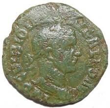 Trebonian Gallus AE 27 Viminacium Moesia Lion Bull