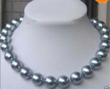 """12mm Silver Gray SEA SHELL PEARL NECKLACE 18""""AAA"""