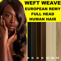 WEFT WEAVE FULL HEAD 100% EUROPEAN REMY HUMAN HAIR EXTENSIONS BROWN BLONDE BLACK