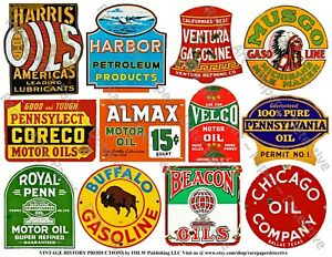 Oil Signs, Automobile Garage Signs, Gas Can Label, 2 Reproduction Sticker Sheets