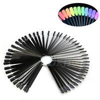 50 Nail Art Tips Colour Pop Sticks Display Fan Palette False Practice Starter TP