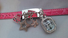 Kessaris  CHARM BRACELET watch -  silvertone with Pink embossed adjustable band