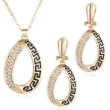 Vintage Rhinestone Pendant Gold Plated Alloy Chain Necklace Earring Jewelry Set