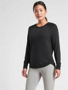 NEW Athleta Women Mindset Sweatshirt Tulip Side Hem Black Workout Top