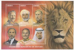 LIBERIA Scott 1336 MNH 1998 sheet of 6 famous Monarchs of history
