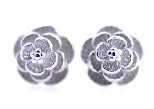 Vintage retro style antique silver coloured rose stud earrings