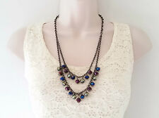"Stunning 22"" long hematite layered chain & AB glass bead necklace & earring set"
