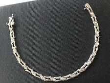 """Stunning 14K Solid White Gold Diamond Chips 7"""" Bracelet - Excellent MUST SEE"""