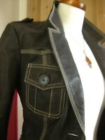 Ladies NEXT brown real leather retro JACKET COAT BLAZER UK 10 8 safari military