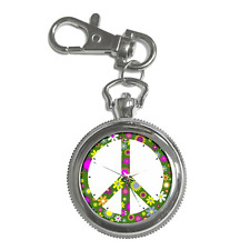 PEACE SIGN HIPPY FLOWER POWER ROUND KEYCHAIN WATCH **GREAT ITEM**