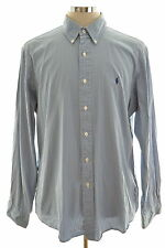 Polo Ralph Lauren Mens Shirt Size 43 17 XL Blue Stripes Cotton Custom Fit