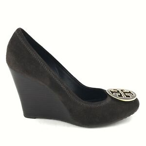 Tory Burch Womens Size 9M Brown Suede Wedge Pumps Shoes
