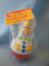 """roly poly musical chime clown toy nip sanitoy 1970""""s"""