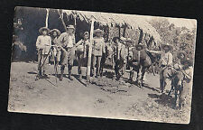 Old Antique Photograph Military Men Camping Gear Horses Straw Hats