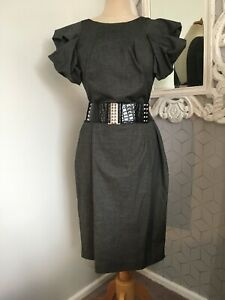 RIVER ISLAND Grey Stretch Cotton Sexy Puff Sleeve Belted Pencil Dress UK 14