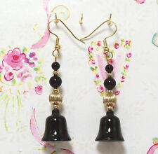 Earrings. 2.5 Inches Long. E004 Black Onyx With 14K Gold Filled