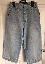 Ladies Light Blue ZARA Basic Dept Wide Leg Cropped Denim Jeans - Size XS