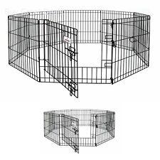 Petmate 8 Panels Exercise Dog Pen, 42 X 24 Inch Step Through Door Pet Playpen