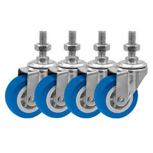 4 Pack 2 Inch Stem Caster Swivel Blue Polyurethane Caster Wheels