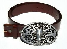 Long Horn Steer Western Removable Belt Buckle Solid Classic Brown Leather Belt