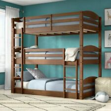 Brown Finish Wooden Twin Over Twin Triple Bunk Beds Convertible Sleeps 3 Kids