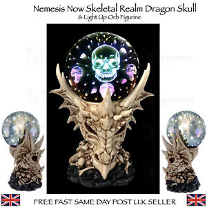 Nemesis Now Gothic Dragon and Skull & Light Up Orb Figurine Skeletal Realm 27cm
