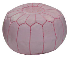 Ottoman Footstool Poof Moroccan Hand Made Leather Poufs Hassock Large Pink