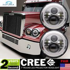 "7"" Chrome LED Headlights(2x)Halo Angle Eyes Retrofit for Freightliner CORONADO"